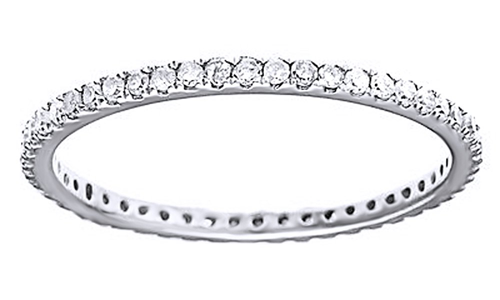 AFFY White Natural Diamond Eternity Wedding Band Ring in 10K Solid White Gold (0.5 Ct)