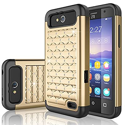 ZTE Maven Case, ZTE Overture 2 Case, Tekcoo® [Tstar Series] Studded Rhinestone Crystal Bling Rubber Defender Plastic Rugged Case Cover For ZTE Maven / Overture 2 / Speed / Fanfare by Tekcoo
