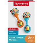Fisher-Price Rattle 'n Rock Maracas, Blue/Orange [Amazon Exclusive] 9 Includes 2 toy maracas Sized just right for little hands to grasp and shake Colorful beads make fun rattle sounds when shaken
