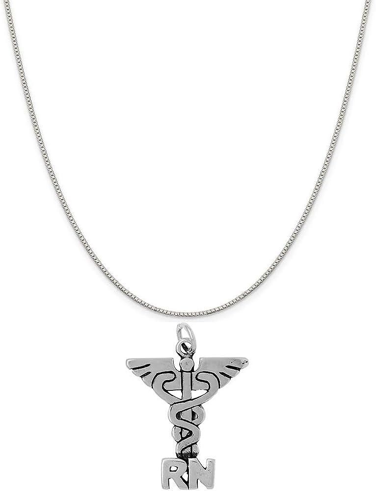 16, 18 or 20 Chain Raposa Elegance Sterling Silver Nurse Caduceus Charm Necklace