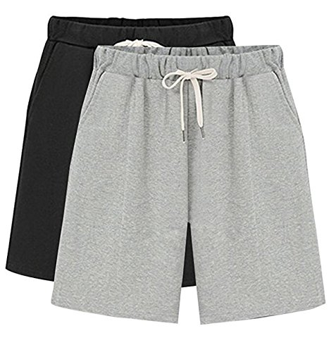 Fit Knee Short - HOW'ON Women's Soft Knit Elastic Waist Jersey Casual Bermuda Shorts with Drawstring Black/Grey M