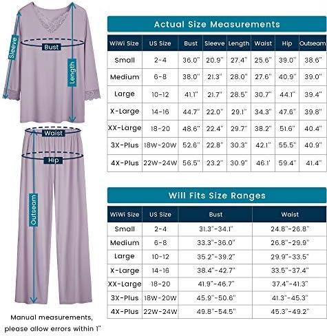 WiWi Womens Long Sleeve Sleepwear Laced V Neck Pjs Stretchy Pajama Set Top with Pants Plus Size Loungewear S-4X