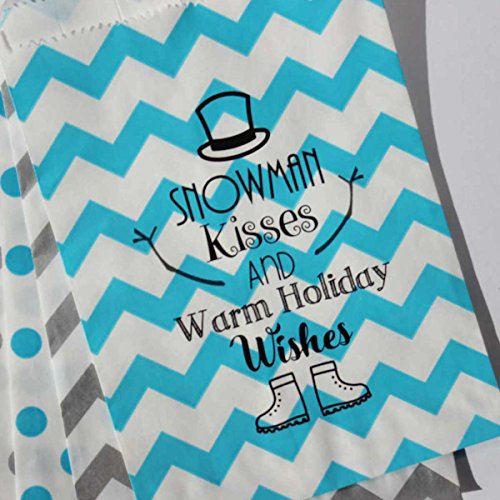 Bakers Bling Holiday Treat Bags with Stickers, Snowman Kisses and Warm Holiday Wishes, Silver and Blue, Chevron and Polka Dot Favor Bags, 5.5 x 7.5, Set of 48
