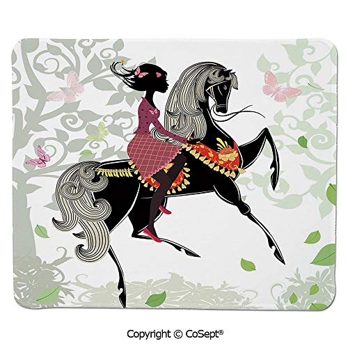 Premium-Textured Mouse pad,Spring Inspired Art Composition Girl on Pony with Ornaments Leaves Butterflies,for Laptop,Computer & PC (11.81