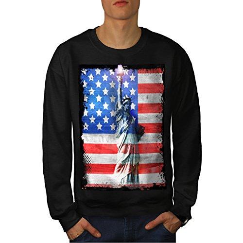 Statue Of Liberty American Flag Men NEW L Sweatshirt | Wellcoda