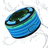 Alitoo Wireless Bluetooth Speaker, Waterproof Shower Speakers Portable with FM Radio and LED Mood Lights, HD Sound USB Rechargeable for Bathroom Pool Beach Car Kitchen Outdoor