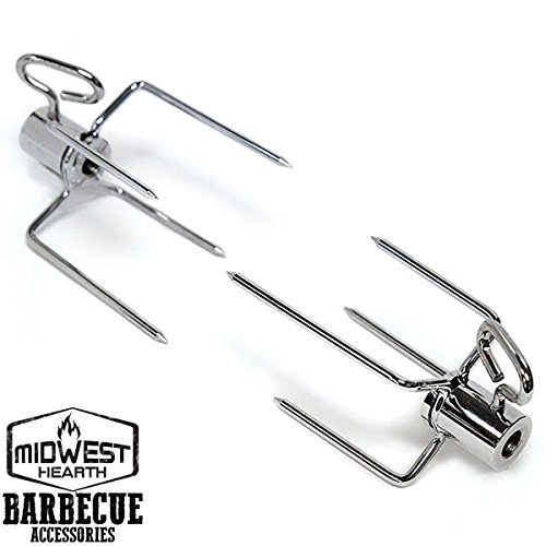 "Midwest Hearth Heavy Duty Rotisserie Meat Forks - Replacement Prongs for 3/8"" Spit Rod (1-Pair)"