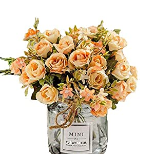 MARJON FlowersArtificial Flowers Aritificial Silk Rose Flower Bouquet DIY Craft Home Wedding Party Decoration Cemetery Hotel Party Garden Floral Rose Flower Champagne 1