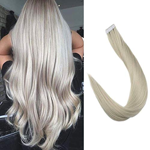 Full Shine Sikly Skin Weft PU Hair Extensions Solid Color #1000 Platinum White Blonde 22 Inch 50 Grams 20 Pcs Glue Ins Straight Soomth Hair Extensions Double Sided Wonderful Tape Human Hair Extensions -