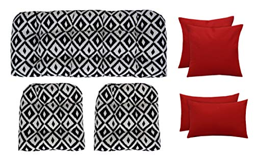 RSH Décor Indoor Outdoor Wicker Tufted 7 Piece Set - Loveseat Settee, Chair Cushions, Square & Lumbar Pillows - Made of Aztec & Solid Red Fabrics (41