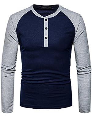Mens Casual Slim Fit Raglan Baseball Raglan Long Sleeve Henley T-Shirts