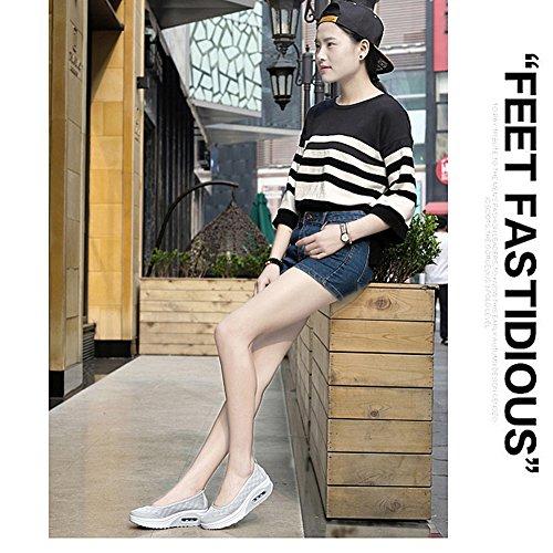 Respirables Deporte Mujer Casual Gris Plataforma de Zapatillas Suaves Zapatos Hp4qq