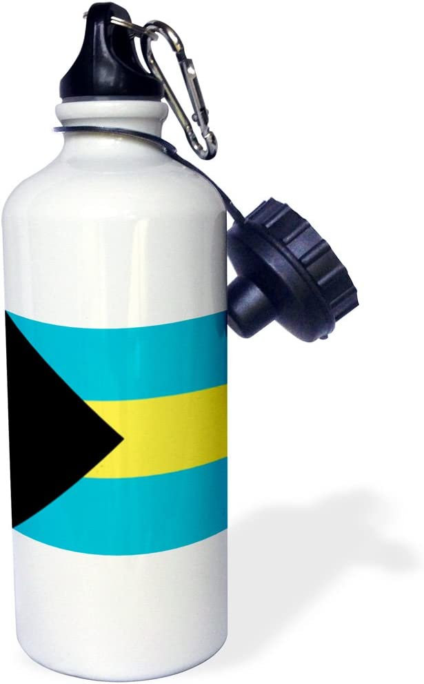 21 oz White Bahamian blue yellow gold stripes black triangle Flip Straw Water Bottle 3dRose wb/_158449/_2Flag of the Bahamas islands
