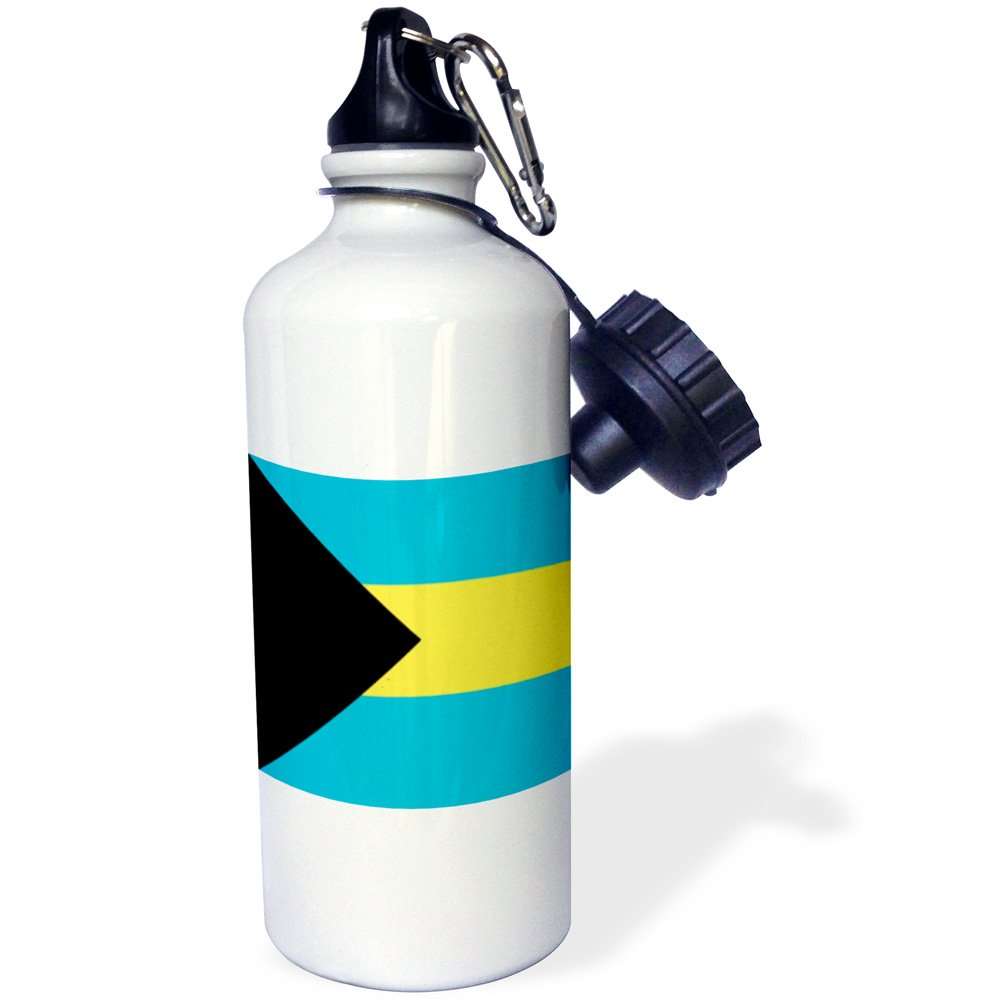 3dRose wb_158449_1 Flag of The Bahamas Islands Bahamian Blue Yellow Gold Stripes Black Triangle Country World Souvenir Sports Water Bottle, 21 oz, White