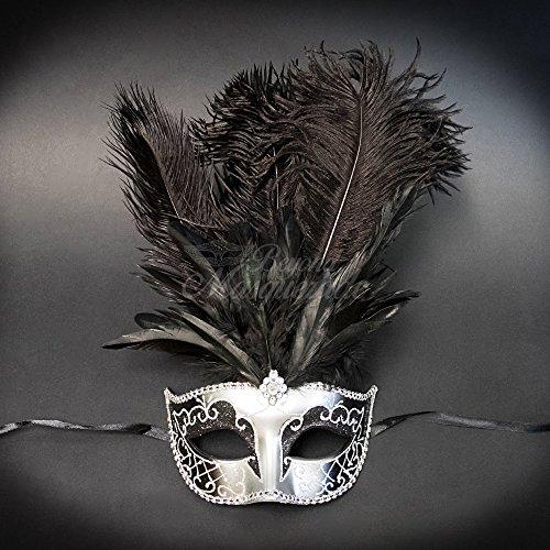 Elegant Masks For Masquerade Ball (Masquerade Couples Venetian Elegant Impression Masks - 2 Piece Black Colored Set by VentianMasks)