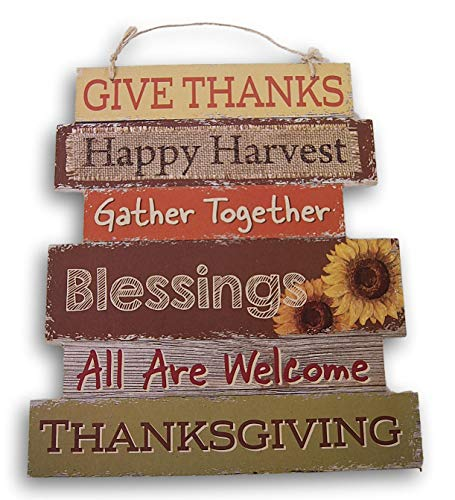Wooden Hanging Thanksgiving Autumn Themed Decor Sign - Harvest Blessings - 10.5 x 11.5 Inches