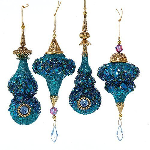 - Kurt Adler Plastic Glittered Peacock Color Icicle Ornament Set Of 8