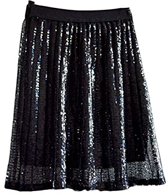GAGA Women's Solid Color Plus Size Sequin Glitter Skater Skirt