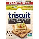 Triscuit Cracked Pepper & Olive Oil Crackers Family Size (Pack of 6) Non-GMO