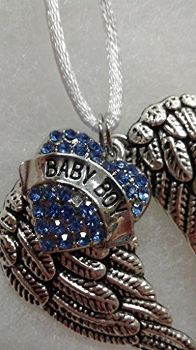 - Baby Boy Infant Memorial Sympathy Gift Ornament Guardian Angel Wings w/Heart Charm Keepsake