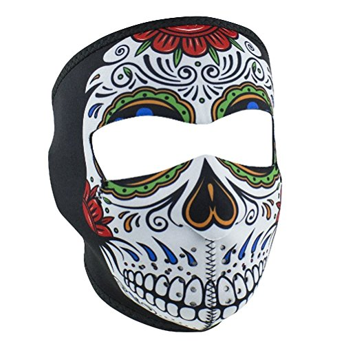 Muerte Sugar Skull Day Of Dead Neoprene Full Face Mask Biker Costume Rainbow by ZIZI SPORTS SUPPLY