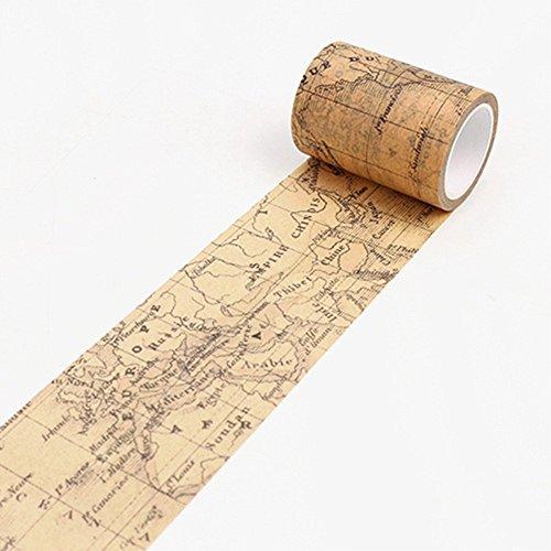(Washi Tape Maserfaliw Vintage Washi Tape Decorative Paper Masking Tape DIY Adhesive Scrapbook Sticker - World Map, Necessary Home, Travel, Office, Crafts, Holiday Gifts. )