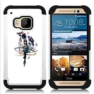 """HTC One M9 /M9s / One Hima - 3 en 1 impreso colorido de Altas Prestaciones PC Funda chaqueta Negro cubierta gel silicona suave (abstracto"""")"""