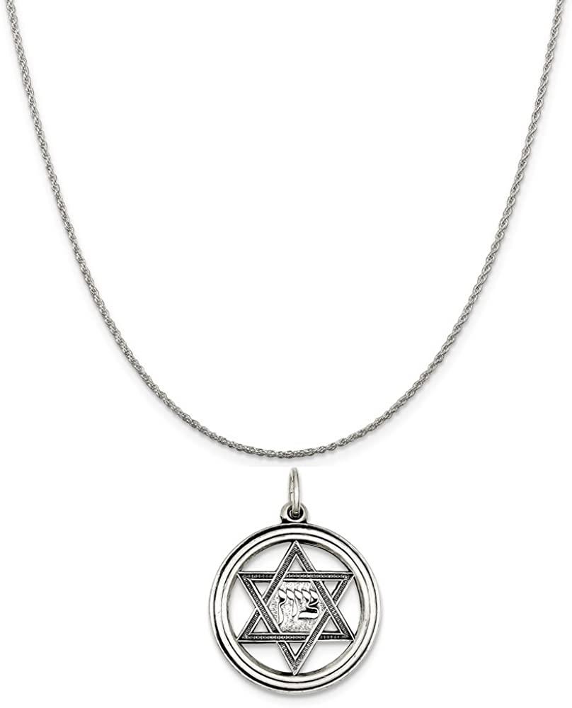 Mireval Sterling Silver Antiqued Star of David Disc Charm on a Sterling Silver Chain Necklace 16-20
