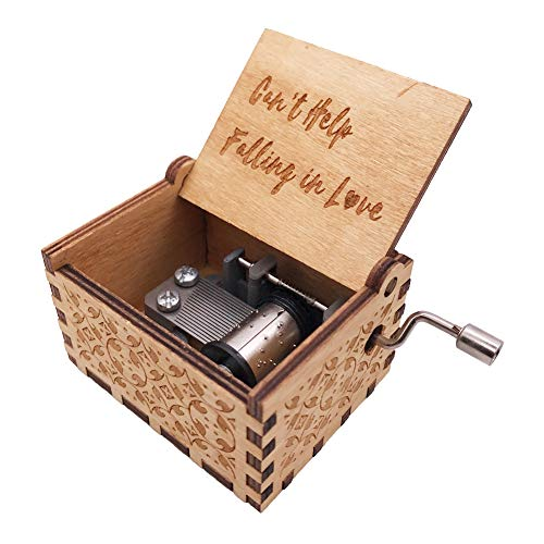 YouTang Music Box 18 Note Hand Crank Engraved Wood Music Box for Kids,Play Can't Help Falling in Love,Brown ()