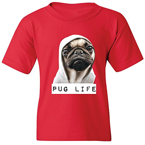 [Amazing Items Pug Life Funny Cute Dog Unisex Youth's T-Shirt, Small, Red] (Cute Couples Halloween Outfits)