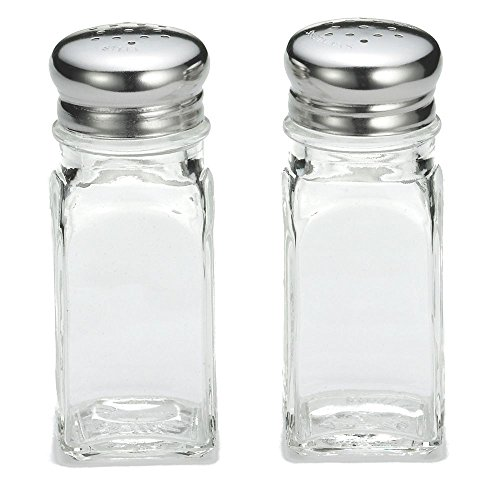 (Tablecraft Square Glass 2 Oz Salt & Pepper Shakers with S/S Tops)