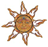 George S. Chen Imports SS-G-63047 Polyresin Yellow Mosaic Face Sun Wall Plaque Decoration, 11'