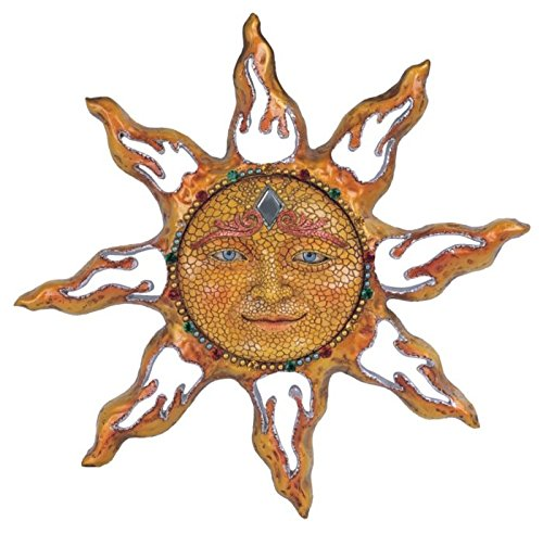 George S. Chen Imports SS-G-63047 Polyresin Yellow Mosaic Face Sun Wall Plaque Decoration, 11