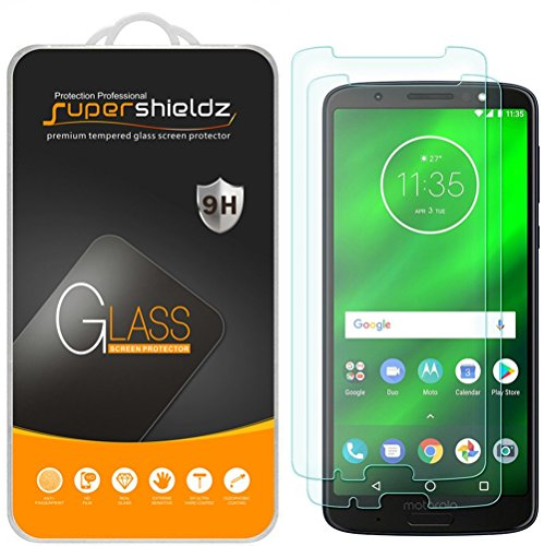 (2 Pack) Supershieldz for Motorola (Moto G6 Plus) Tempered Glass Screen Protector, 0.33mm, Anti Scratch, Bubble Free