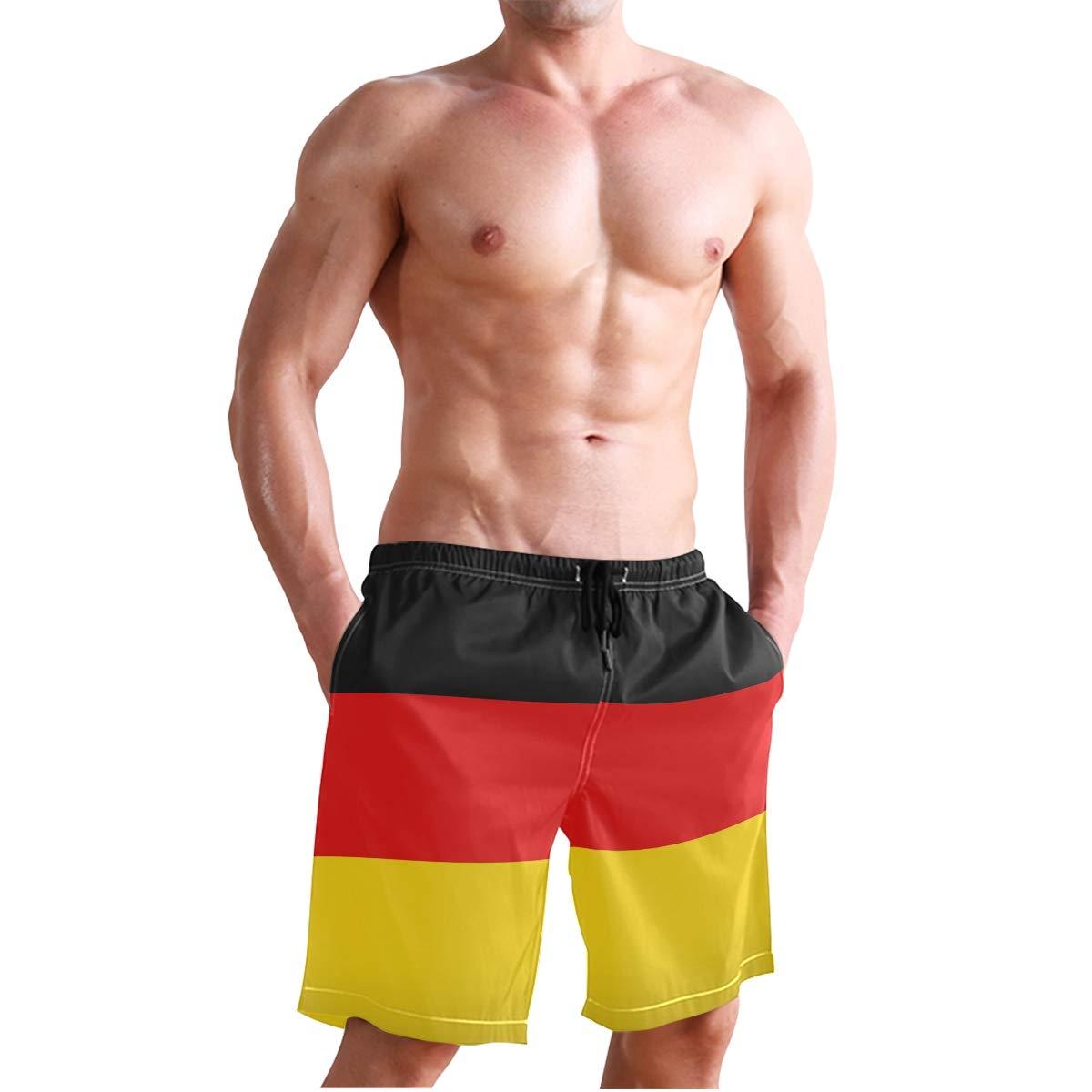 MONTOJ Patriotism German Flag Beachwear Men Shorts Adjustable Pull Cord