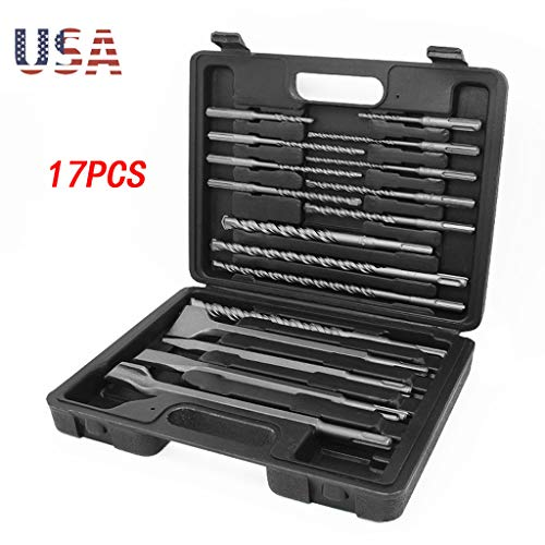 BXzhiri 17Pc Drill Bils&Chisel Set,Chisel Hammer Bits Set Fit for Bosch, Chromium Steel Drill Body U-Shaped Groove ()