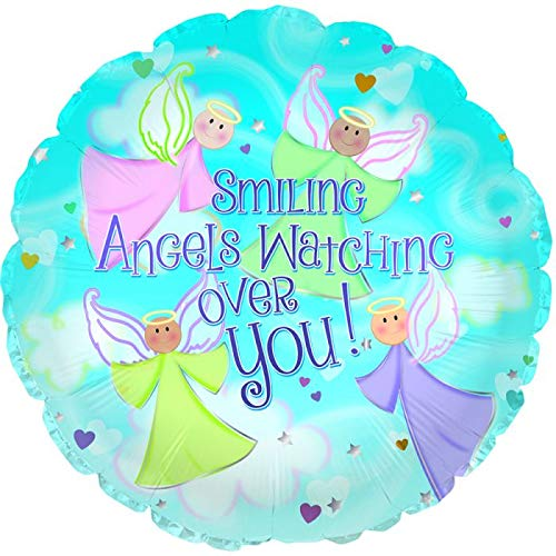Smiling Angels Watching Over You 18'' Mylar Balloon Get Well Soon Birthday Party Decorations Supplies