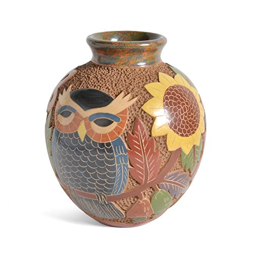 Nicaraguan Pottery 6.5-inch Carved Owl Vase (Pottery Vases And)