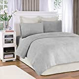 True North by Sleep Philosophy Soloft Plush Grey Sheet Set, Casual Bed Sheets Twin, Bed Sheets Set 4-Piece Include Flat Sheet, Fitted Sheet & 2 Pillowcases