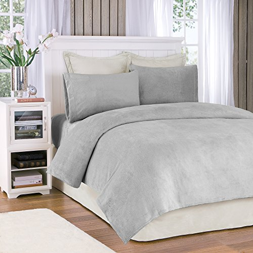 True North by Sleep Philosophy Soloft Plush Grey Sheet Set, Casual Bed Sheets King, Bed Sheets Set 4-Piece Include Flat Sheet, Fitted Sheet & 2 Pillowcases