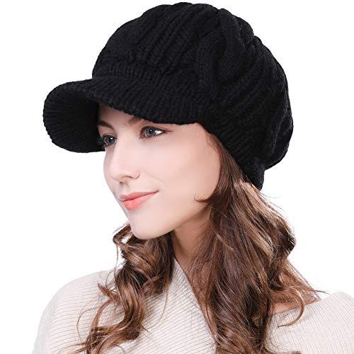Fancet Womens 100% Merino Wool Knit Visor Beanie Newsboy Cap Winter Warm Hat Cold Snow Weather Girl Black -