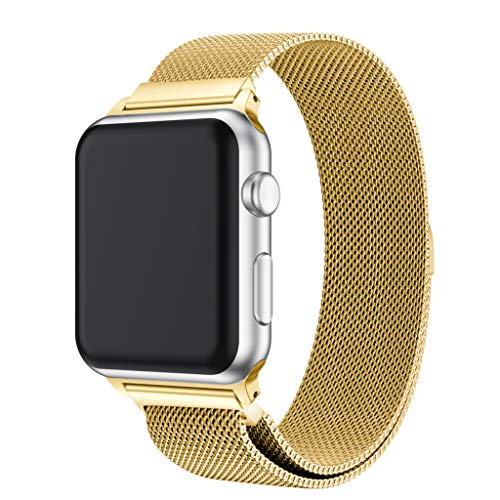 Sinma Milanese Loop Stainless Steel Watch Band Strap Bracelet Magnetic Smart Watch Strap for Apple Watch Series 4 44MM (Gold)