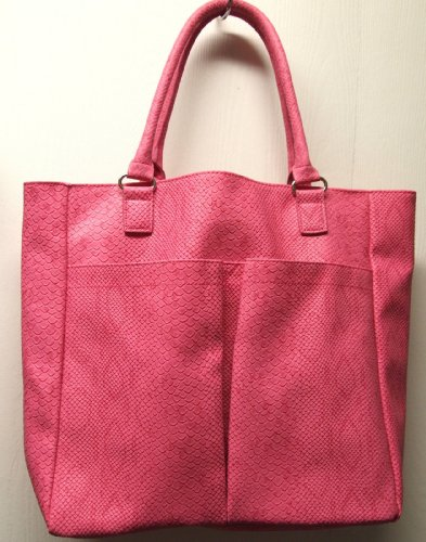 neiman-marcus-faux-snake-python-crocodile-large-tote-pink