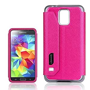 GHK - Touch Series PU Leather Case Back Case with View Window for Samsung Galaxy S5 I9600(Assorted Colors) , White
