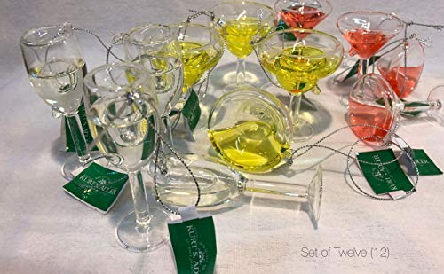 (RSP Kurt Adler Holiday Ornament Assortment - Martini Glass Champagne Flute Margarita Glass Christmas Holiday Tree Ornaments - Assorted Alcohol Glass Ornaments (12))
