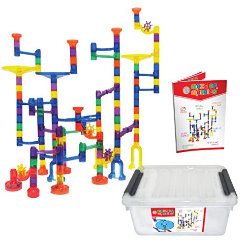 Maze of Marbles 125-Piece Marble Run Toy Set - Educational Building Block Play Track Game – STEM Construction Learning Toys for Kids 4 5 6 Years Old + 25 Glass Marble Balls with Storage Box Container ()