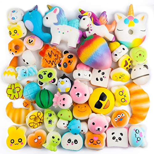 BeYumi Random 42 PCS Mini Squishy Toys 40 Kawaii Food Squishy 2 Animal Squishy Soft Cream Scented Slow Rising Squeeze Toys, Phone Straps for Kids Adults Party -