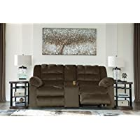 Ashley Furniture Signature Design - Mort Reclining Loveseat - Manual Reclining Couch - Contemporary Style - Umber