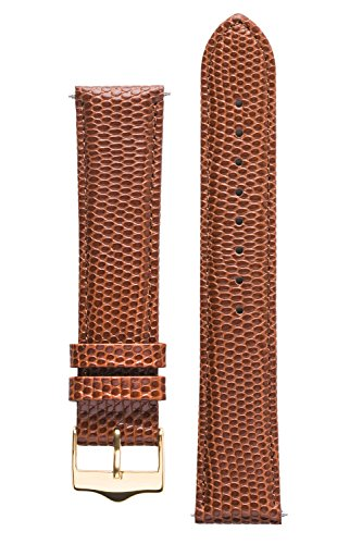 Signature Dragon watch band. Replacement watch strap. Genuine leather. Steel and Gold Buckle (18 mm, Brown - Gold Buckle) -