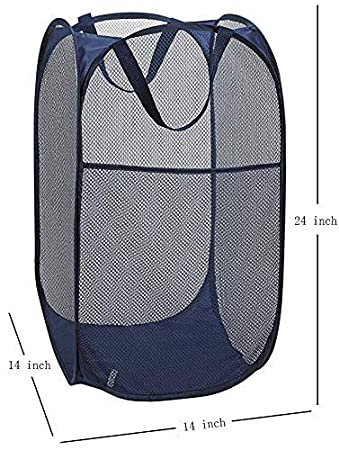 with Portable Folding Pop-Up Clothes Hampers for Kids Room 2 Packs Mesh Pop up Laundry Hamper Durable Handles Black// Navy Blue Collapsible for Storage College Dorm or Travel